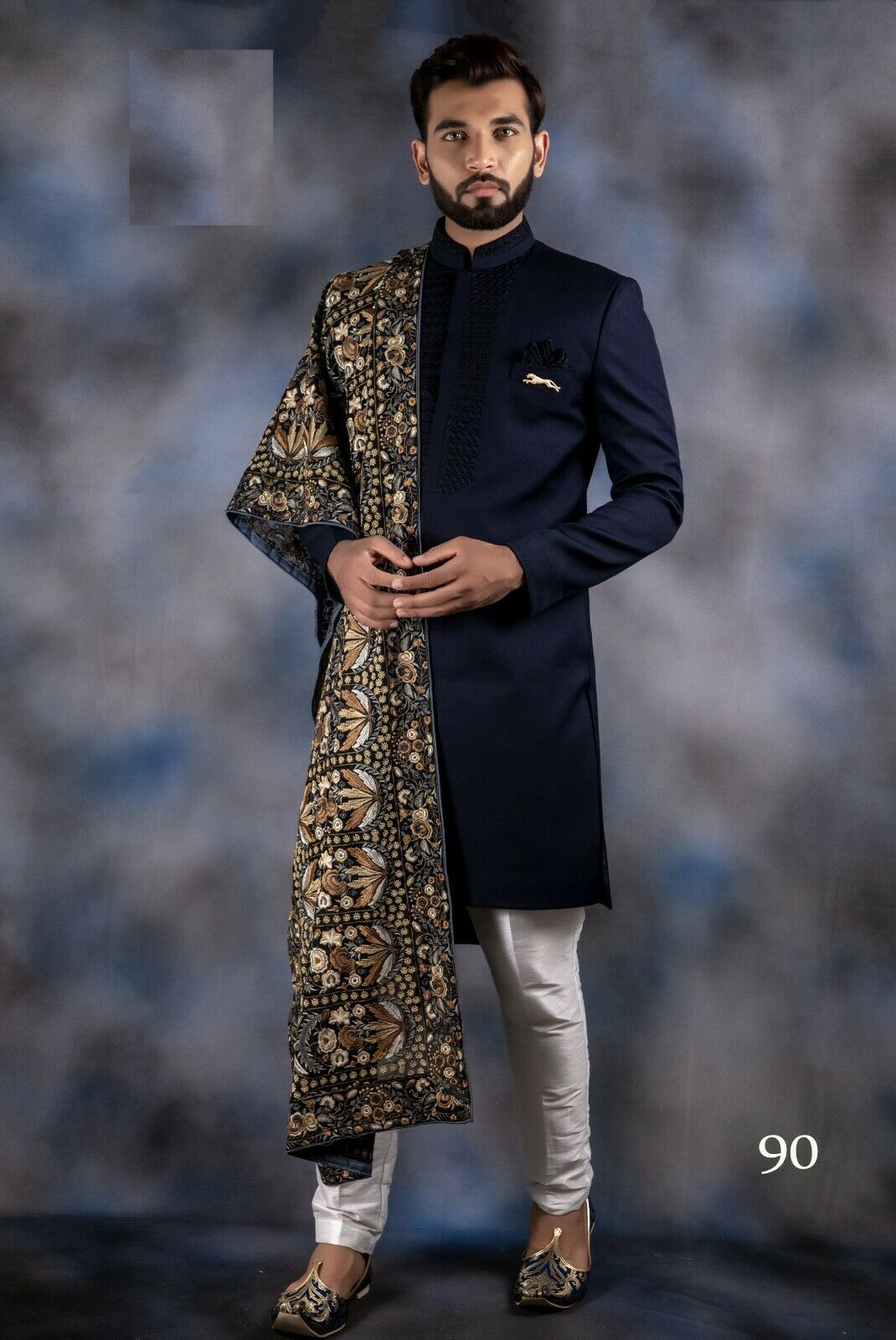 Ethnic Men's Royal Sherwani For Indian Wedding Luxurious Indoa Wester Two Piece