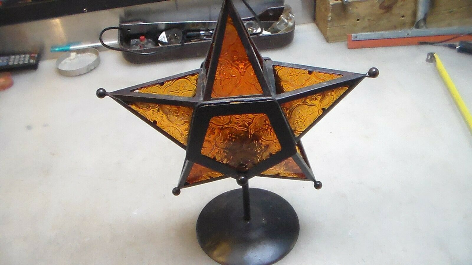 Stained Glass Tealight Holder Standing Triple Moroccan Candle Lantern
