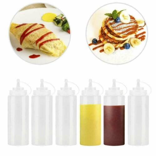 240ml Plastic Clear Squeeze Squeezy Sauce Bottle Mayo Portable Bottles D3K0