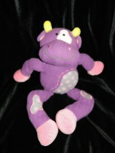 Aurora-Baby-Purple-Pink-Polka-Dot-Yellow-Horns-Cow-Bull-Plush-Lovey-VHTF-14-034