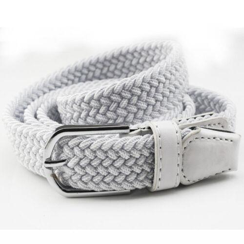 Men Women Silver Pin Buckle Crochet Belt Braided Canvas Casual Jeans Waistband
