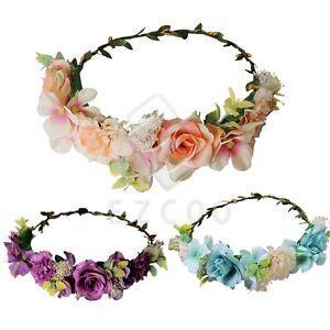 Women-Handmade-Flower-Hairband-Crown-Garland-Bride-Floral-Adjustable-MDHS26