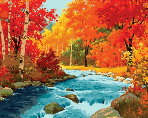 Brook Cross Beautiful Maple Bush Hand Painted Design Needlepoint Canvas #397