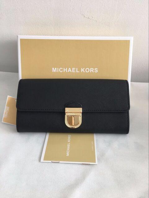 5c72e2d9de59 Auth Michael Kors Bridgette Saffiano Flap Leather Wallet Black for ...