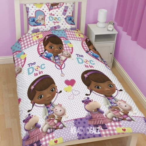 Disney Doc McStuffins Patch Single Rotary Duvet Cover Bed Set Dottie Stuffy