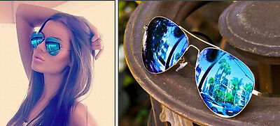 Sexy Blue Mirrored Silver Frame Aviators Hot Famous Cool Sunglasses Women