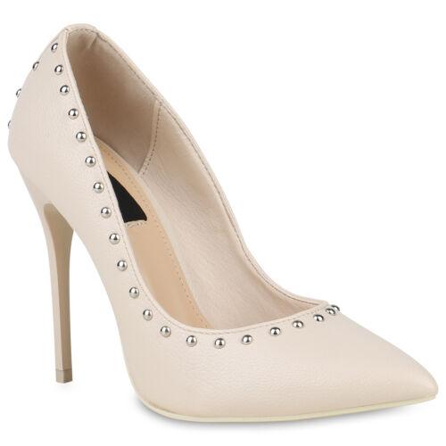 Damen Spitze Pumps Nieten Lack Stilettos Party High Heels 819578 Schuhe