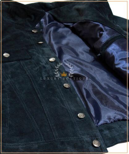 Il convoglio BLUE MEN/'S CAMIONISTA Casual Stile Biker Reale in cuoio in pelle scamosciata giacca a camicia
