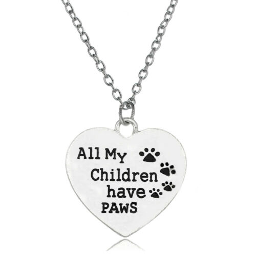 Silver Necklace Women Dog Cat Paw Print Charms Heart Pendants Charms Jewellery