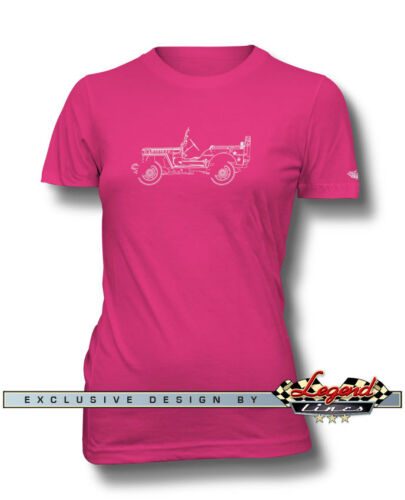 Multiple Colors and Sizes Jeep Willys 1944-1945 WWII T-Shirt for Women