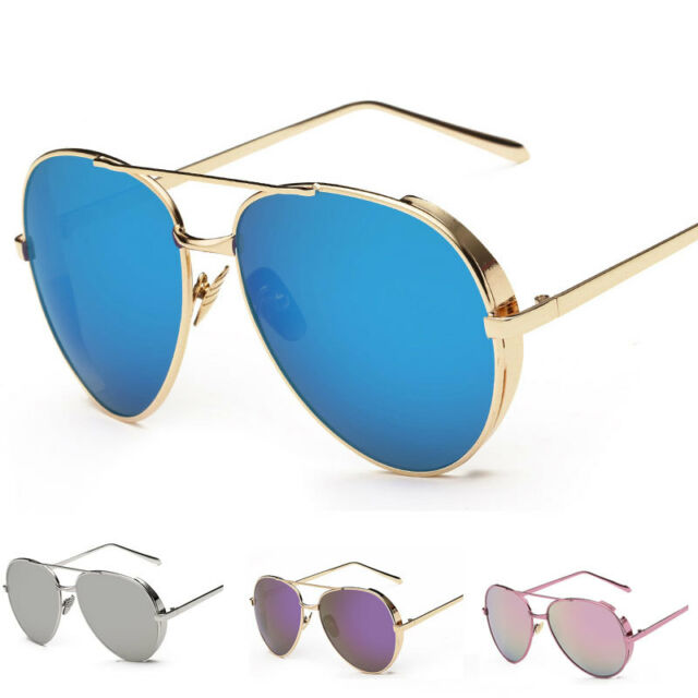 New Women's Fashion Designer Mirrored Lens Metal Sunglasses Eye Glasses Eyewear