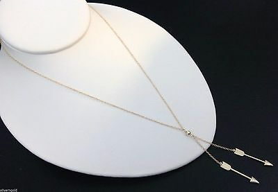 Double Arrow Necklace-14 KT Gold Plated Solid Sterling Silver 925-Y-Chevron