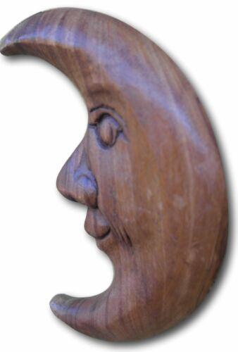 Main en bois sculpté espiègle Lune Mur Ornement Suspendu