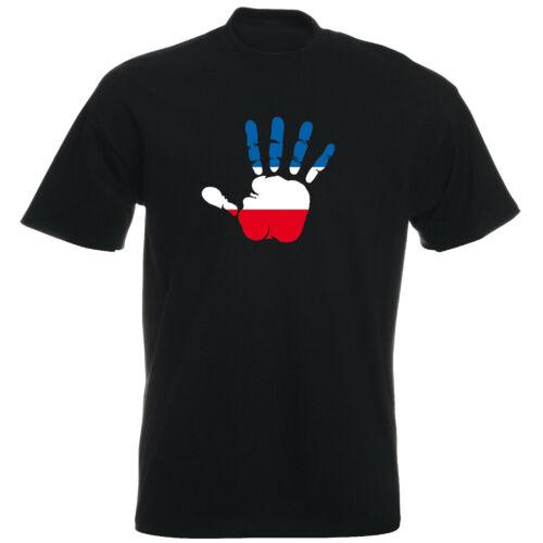 Flag Fahne Serbia Herren T-Shirt Palm Hand Print Handabdruck Serbien