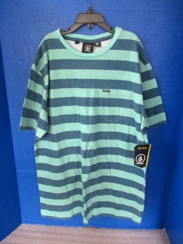 VOLCOM~Green /& Blue Striped Short Sleeve T-SHIRT TEE TOP SHIRT~Boys XL~NWT