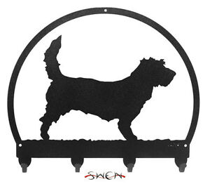 SWEN Products PBGV Dog Black Metal Key Chain Holder Hanger