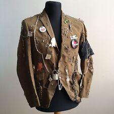 De Colección One-Off 70s Personalizadas Chaqueta de punk rock británica anarquía Tachonado Pines cadenas