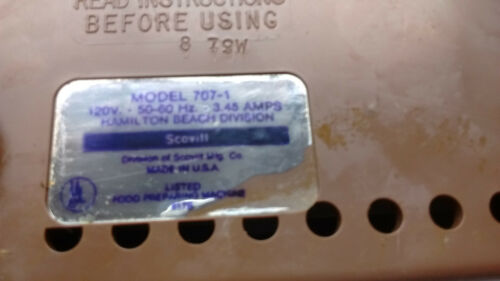 Pick 1 Hamilton Beach Scovill 707-1 Food Processor PARTS ONLY USA