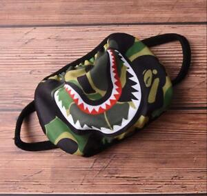Shark Green Camo Cotton Fashion Anti-Dust Cycle Bathing Ape Bape Mouth Face Mask