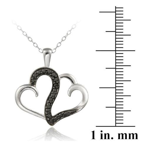 """18/"""" Argent 925 Diamant Noir Accent Double Tourbillon Collier Coeur"""