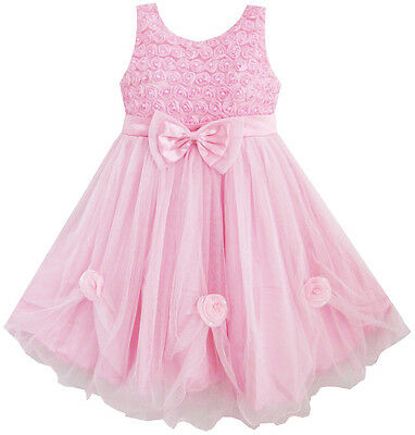 Sunny Fashion Girls Dress Pink Rose Pageant Tull Wedding Kids Boutique Size 2-10