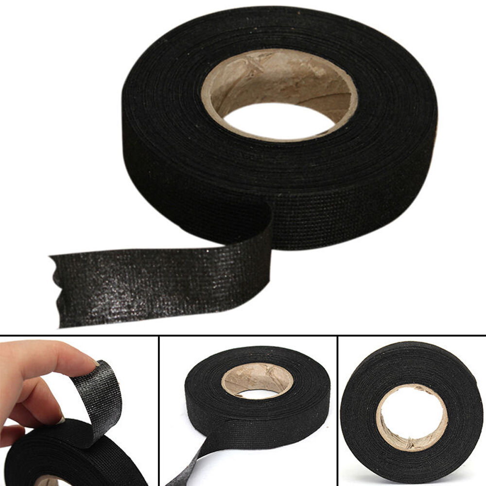 details about 19mm x 15m black adhesive cloth fabric tape cable looms wiring  harness tools