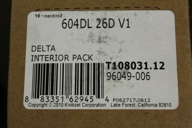 Kwikset Tylo Knob Inside Trim Single Cylinder Handleset 604T 26D Interior Pack