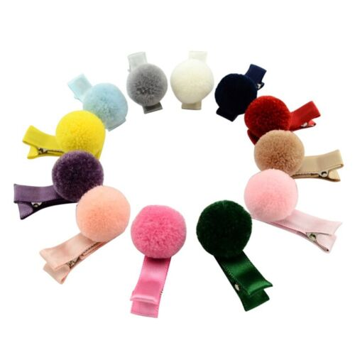 12 Pcs Girl Baby Soft Fur Ball Hair Clip Handmade Barrettes Head Accessories New