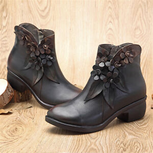 6d4b8fe16754 SOCOFY Women Handmade Real Leather Ankle Boots Casual Floral Zipper ...