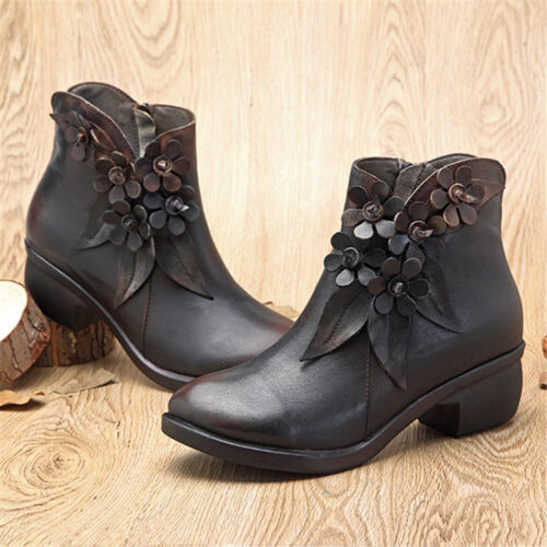 SOCOFY Women Handmade Real Leather Ankle Boots Casual Floral Zipper Shoes Retro