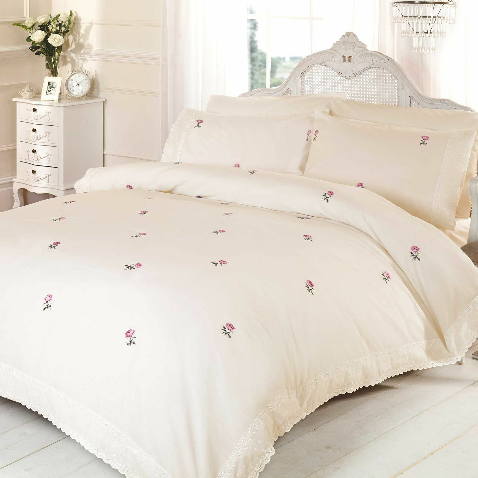 ALICIA FLORAL CREAM   PINK KING SIZE DUVET COVER SET EMBROIDERED BEDDING