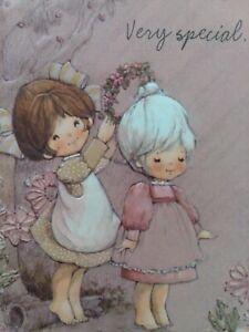 Vtg-Hallmark-CHARMERS-Very-Special-GIRLS-Embossed-BIRTHDAY-GREETING-CARD