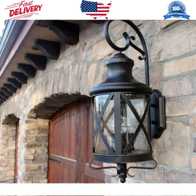 Exterior Sconce Seeded Glass Oil Rubbed Bronze Outdoor Wall Mount Lantern Light