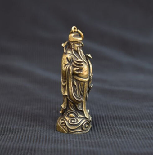 Chinese old pure brass god of wealth mini lucky Buddha statue