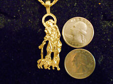 bling gold plated SAINT LAZARUS PATRON ST religious charm chain hip hop necklace