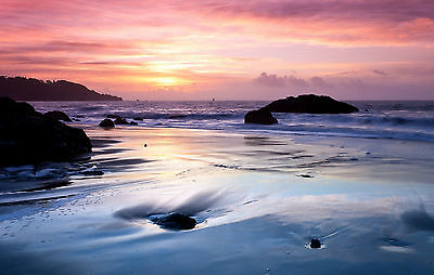 Framed Print - Colourful Pink Ocean Sky at Sunset (Picture Poster Art Sea Beach)