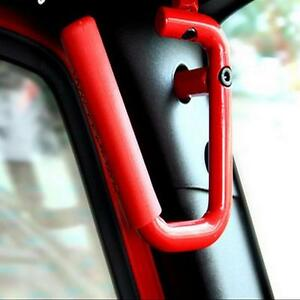 Image Is Loading Pair Red Steel Grab Bars Front Grab Handles