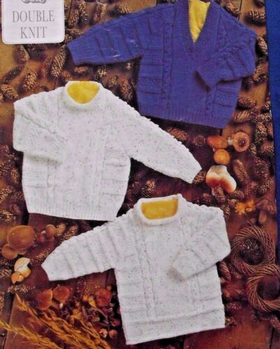 """DK KNITTING PATTERN  3 STYLES OF BABY//CHILDREN/'S JUMPERS IN 6 SIZES 16/""""-26/"""""""