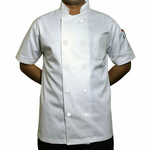 WHITE CHEF JACKET PLASTIC BUTTON short sleeve UK catering chef jackets