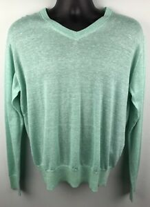 a7515109d877 Peter Millar Green V-Neck Sweater Size M Men s Merino Wool Linen ...