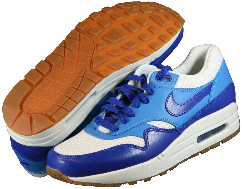 Nike Air Max 1 vintage taille 38 38,5 39 40 41 Blanc Bleu 555284 105 blanc carton