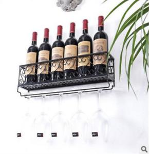 Black Wall Mounted Wine Glass Hanger Rack Bottle Champagne Holder Bar Shelf