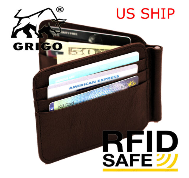 eae84b22ff6e Genuine Leather Wallets For Men Trifold Mens Wallet With ID Window RFID  Blocking