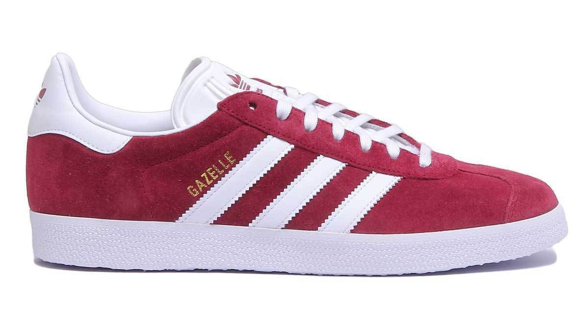 Adidas Gazelle Mens Maroon Suede Leather Lace Up Trainers UK UK UK Größe 6 - 12 0f566a