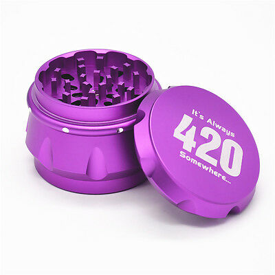 "1 X Aluminum Crusher Drum Shape Tobacco Spice Herb Grinder 2.5"" 4 Piece-purple Tobacciana Grinders"
