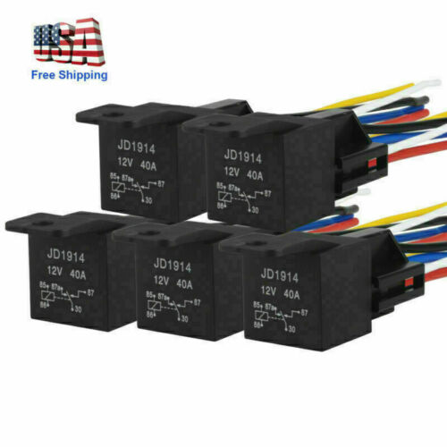 5pc DC 12V Car SPDT Automotive Relay 5 Pins 5Wires w//Harness Socket 30//40 Amp US