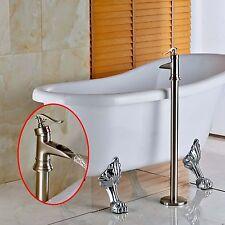 Modern Brushed Nickel Free Standing Bathroom Tub Faucet Bathtub Filler Mixer Tap