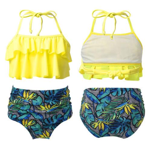 Bottoms Bathing Suit Tankini Kids Girls Bikini Swimwear Swimsuit Ruffled Tops
