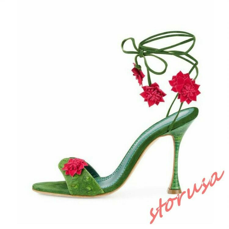 Womens Summer Strappy Strap High High High Heels Floral Sandals Open Toe shoes Prom Dress 4451fb