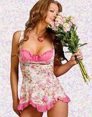 Sexy Womens Lingerie Sleepwear Nightwear Floral Underwear Babydoll +G-string